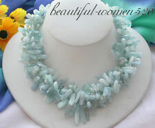 """z3659 3row 17""""Aquamarin stick drip faceted crystal necklace"""
