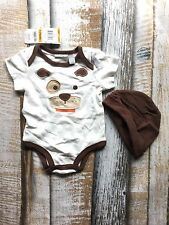 NWT $9.98 First Impressions Sz 0-3 Months Boys Dog One Piece Cap Brown New Baby