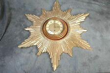 "Retro 8 Day Starburst Wall Clock Endura Movement 20""x24"" Glass Door Wood Plastic"
