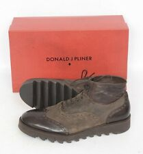 DONALD PLINER Brown Waxed Vachetta Leather Brogue Boots Shoes 9 1/2 NIB $375!