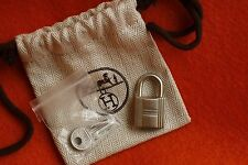 Authentic SILVER HERMES Cadenas Padlock Lock Set (2) Keys for Birkin Kelly