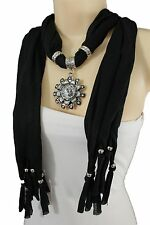 Women Fashion Long Black Necklace Soft Scarf Silver Flower Pendant Fringe Bead