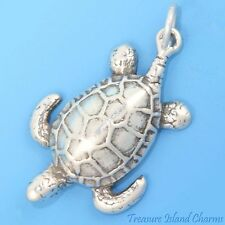 LARGE OCEAN SEA TURTLE .925 Sterling Silver Charm NEW