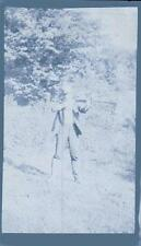 Old Vintage Antique Photo Negative Man Shooting Rifle Gun in Field