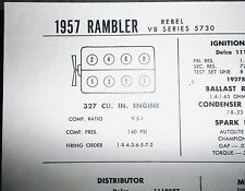 1957 Rambler Rebel 5730 327 CI V8 SUN Electric Tune Up Chart Excellent Condition