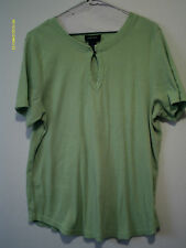 Womens Avenue 18 20 Lt Green Comfort Fit Top Shirt Short Sleeve Ribbed Stretch