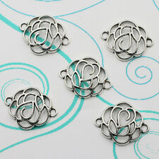 10pcs Tibet Silver Hollow Flower Antique Alloy Connectors Charm Pendant Jewelry