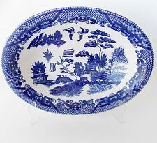 "VINTAGE BLUE WILLOW 10 1/2"" OVAL SERVING BOWL BLUE AND WHITE JAPAN WILLOW CHINA"