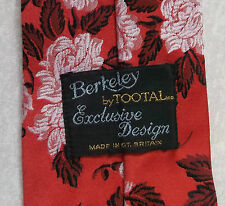 BERKELEY BY TOOTAL EXCLUSIVE DESIGN VINTAGE TIE 1960s 1970s MOD RED FLORAL DANDY