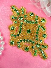 JB115 Lime Green Glass Rhinestone Applique Gold Beaded Motif DIY Craft Supplies