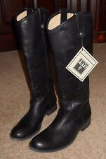 Frye Melissa Button Black Leather Pull Up Boots Women's Size 10