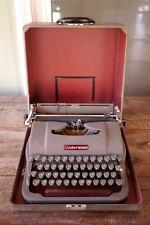 Vintage Antique 1940s UNDERWOOD Champion Grey Metal Typewriter w/ Travel Case