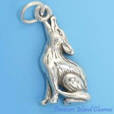 COYOTE HOWLING Wolf 3D .925 Solid Sterling Silver Charm Pendant 18mm 0.75""