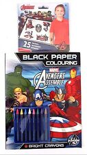 Marvel Avengers Black Paper Colouring w/Bright Crayons + 25 Temporary Tattoos