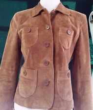 Ann Taylor Loft Suede Leather Jacket Womens 6P Petite Pockets Lined Brown Small