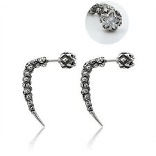 Horn Spike Double Side Front And Back Crystal Stud Earrings 316L Stainless Steel
