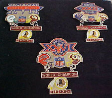 SET OF 3 WASHINGTON REDSKINS SUPER BOWL CHAMPS HANGING CHAMPS PINS