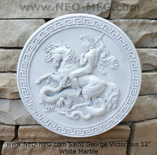 Roman Greek Saint George the Victorious Stone Carving Sculpture Wall Frieze 12""