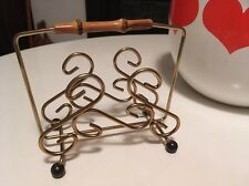Vintage 50s Kitsch Gold Tone And Bamboo Letter Rack Mid Century Cool Eames Era