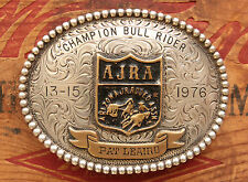 Vintage Hand Made Sterling Silver Champion Bull Rider Western Trophy Belt Buckle