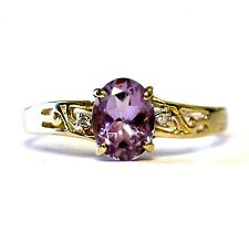 10k yellow gold .01ct VS1 G womens diamond amethyst ring band 1.7g estate