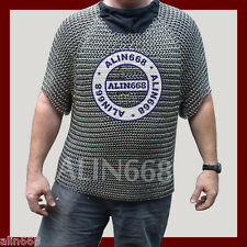BUTTED ALUMINIUM CHAIN MAIL SHIRT MEDIEVAL CHAINMAIL HAUBERGEON ARMOR COSTUME