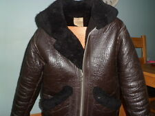 VINTAGE Pelle di Pecora battenti jacket-large-brown-mk V1 FLYING jacket-size LGE -