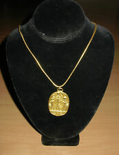 Vintage Egyptian Revival Goldtone Necklace Pendant MMA 1976 King Tut Museum