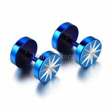 Men's Stainless Steel Star Pattern Barbell Dumbbell Ear Plugs Blue Stud Earrings