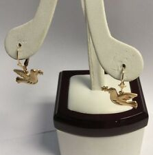 14k Yellow Gold Peace Dove Olive Branch Lever Back Earrings