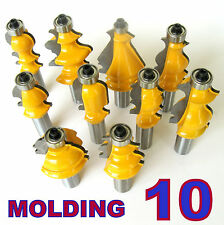 "10 pc 1/2"" Shank Architectural Specialty Molding Router Bit set sct-888"