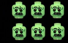 6 Custom Minifigure Heads Zombie Alien (Glow) UFO Monsters Printed on LEGO Parts