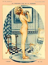 1920's La Vie Parisienne French The Tub France Travel Advertisement Poster
