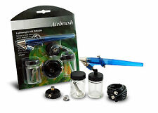 1 NEW BLUE SINGLE ACTION AIRBRUSH AIR BRUSH KIT W/ AIRHOSE CAKE MODEL AUTOBODY