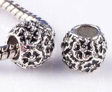 2pcs silver Painted black flowers Beads Fit European Charm Bracelet #F868