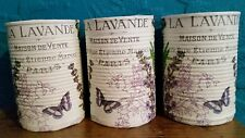 Vintage/shabby chic decoupaged tins-couverts/stylos/make up brushes détenteurs