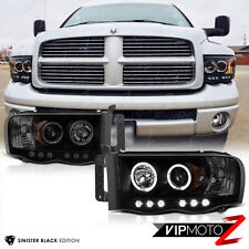 SINISTER BLACK 2002-2005 Dodge Ram 1500 Halo LED Head Lights 03-05 Ram 2500 3500
