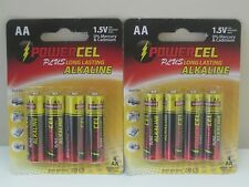 8 Pack AA Powercel Alkaline Batteries SEALED PACKS! 2019
