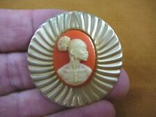 (CA10-9) RARE African American LADY orange + ivory CAMEO Pin Pendant JEWELRY