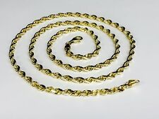 "14k SOLID Yellow Gold Diamond Cut ROPE Link Chain/Necklace 28"" 5MM 35 grm (R035)"