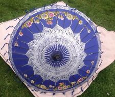 vintage, chinese silk Dark Blue parasol, hand painted Solid Wood Handle Old