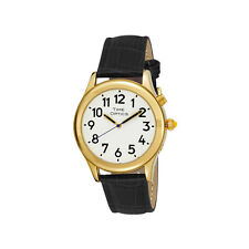 Man's Gold Tone Talking Watch White Face: Black Leather Band - Choice of Voices