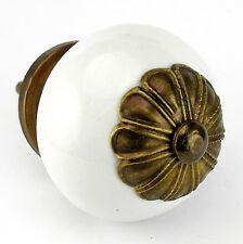 White Drawer Knobs Round Ceramic Cabinet Pulls Kitchen Handles #C52FF set/10