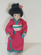 "Vintage JAPANESE Geisha Girl DOLL Figurine  Porcelain Cloth Asian 10"" Red Kimono"