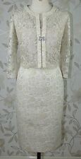 BNWT Carla Ruiz Mother of Bride Races Gold Jacquard Lace Dress & Jacket Sz 16-18