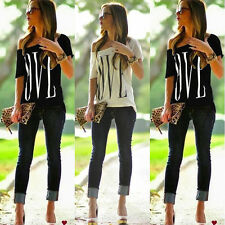 Womens Summer Letter Loose Short Sleeve Blouse Casual Tops T-Shirt Grey M xzks