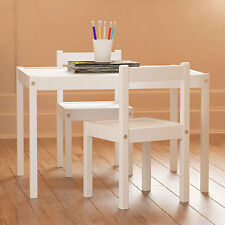 Kid's White Wood Table with 2 Chairs Furniture Set For Use in Children's Room