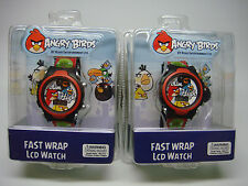 2-KIDS-ANGRY BIRDS WATCHES-NEW-(FAST WRAP LCD WATCH)---CHECK IT OUT----
