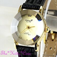 Omax Ladies Slim Gold Plt Seiko Movement Cut Glass Mineral, Leather Watch 8N8314