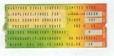 davd bowie serious moonlight ticket stub hartford civic center july 15, 1983